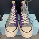 New W/ Damaged Box! Womens Converse x Chiara Ferragni Chuck Taylor All Star 70 Hi Blue Purple Glitter Size 7.5