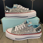 New W/ Box! Womens Converse x Chiara Ferragni Chuck Taylor All Star Silver Glitter  (Multiple Sizes)