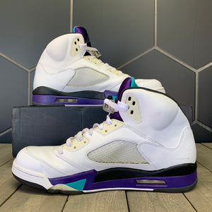 Used W/ Box! 2013 Air Jordan 5 White Grape Shoes Size 13