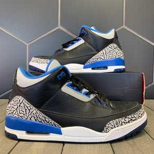 Used W/ Box! Air Jordan 3 Sport Blue Black Shoes Size 13