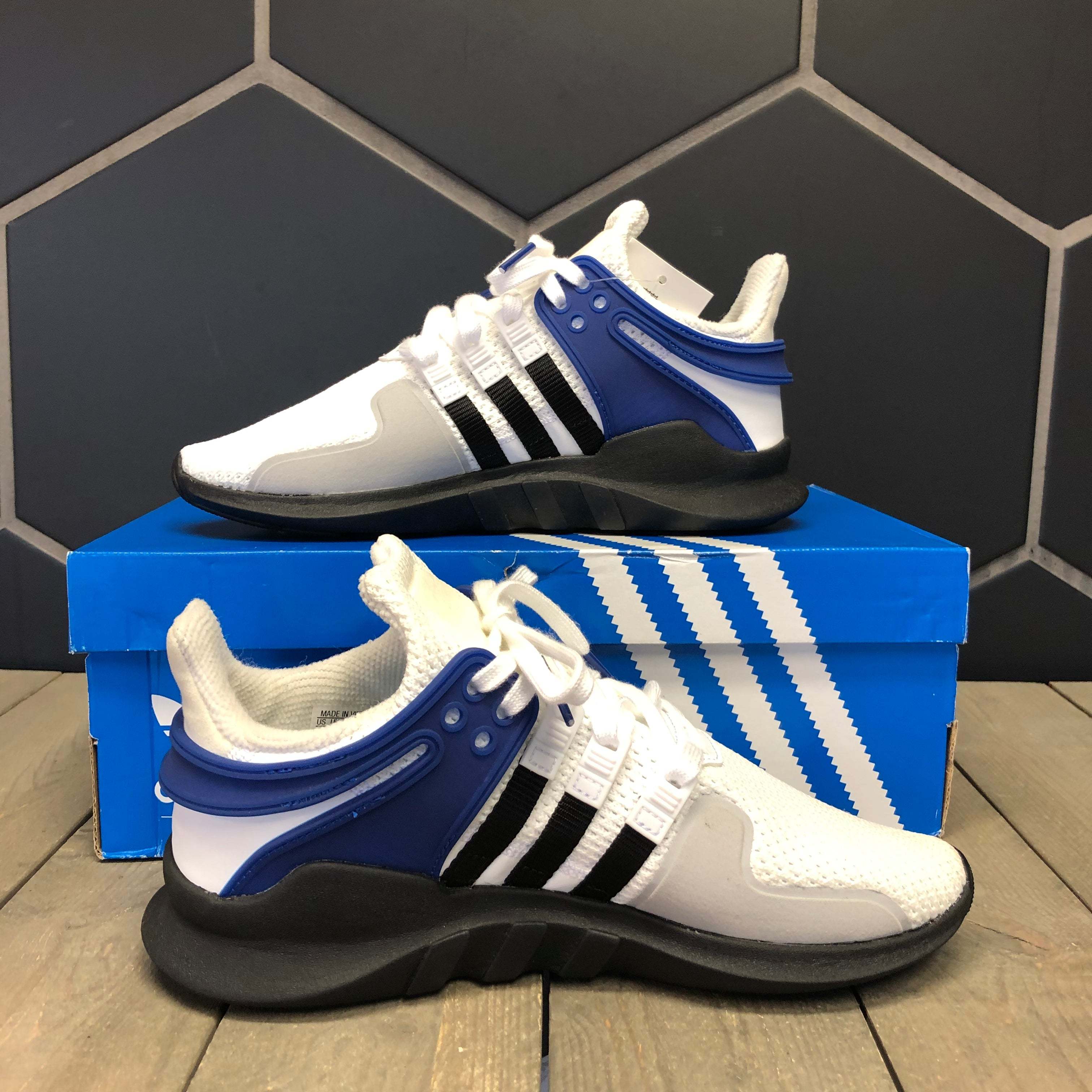 New W/ Box! Adidas EQT Support ADV J GS White Royal Size 5