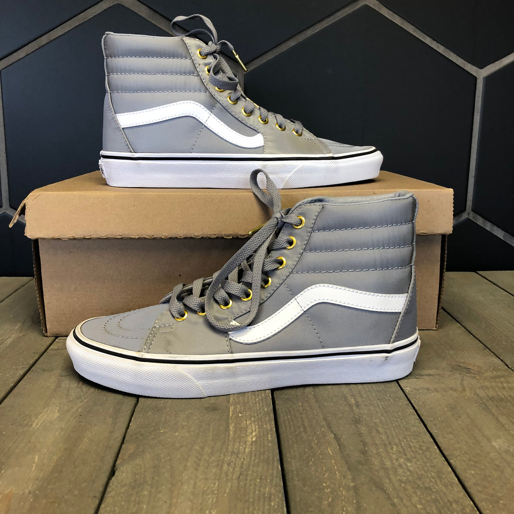 New W/O Box! Vans SK8 Hi Grey Metallic White Skateboarding Shoes Size 6.5