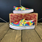 New W/ Box! Kids Vans Classic Slip On Rainbow Tie Dye Size 11