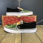 New W/ Damaged Box! Kids Vans Classic Slip On Dragon Flames Black Size 2