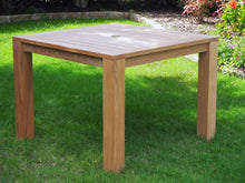 Load image into Gallery viewer, Teak outdoor furniture. This forty inch square table is larger than most on the market and comfortably seats four.