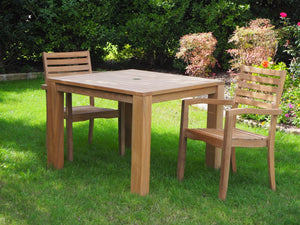 Teak outdoor furniture. This forty inch square table is larger than most on the market and comfortably seats four.