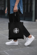 Load image into Gallery viewer, Benedict medal embroidered tote bag -- Black.