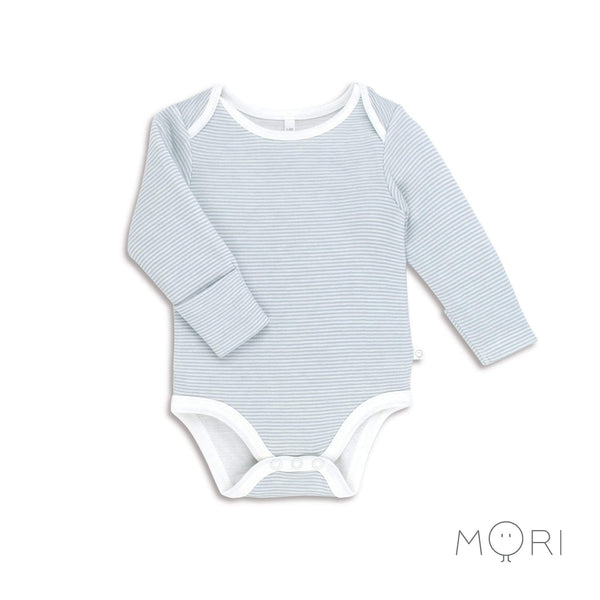 Baby Mori Blue Stripe Bodysuit