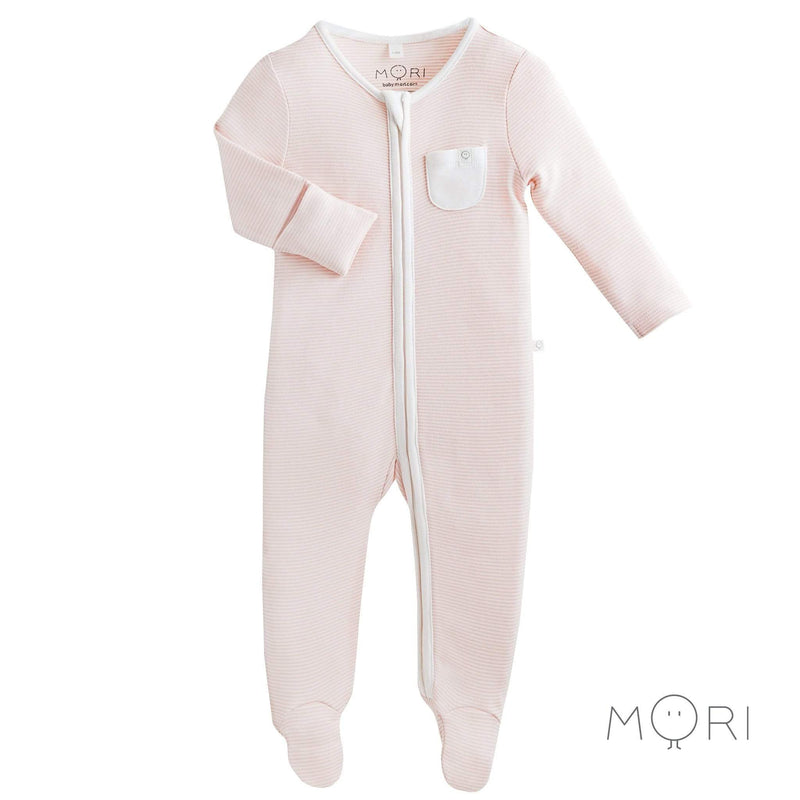 Baby Mori Blush Zip-up Sleepsuit