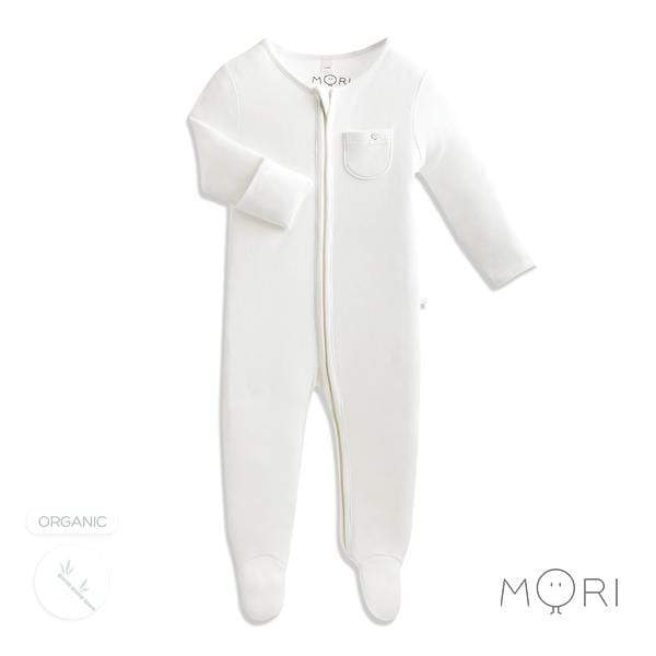 Baby Mori White Zip-up Sleepsuit