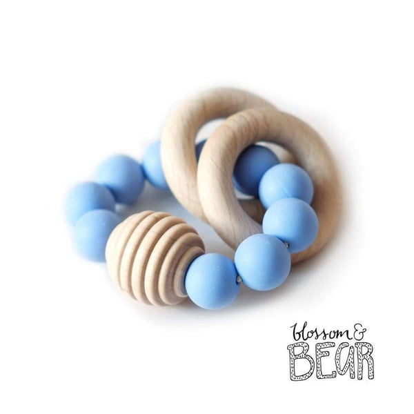 Blossom & Bear Beehive Blue Wooden Teething Toy