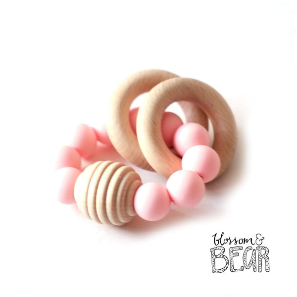 Blossom & Bear Beehive Pink Wooden Teething Toy