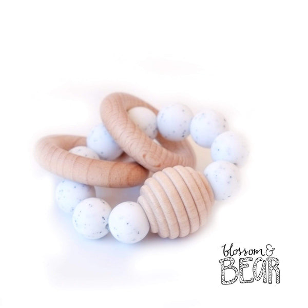 Blossom & Bear Beehive White Speckled Wooden Teething Toy