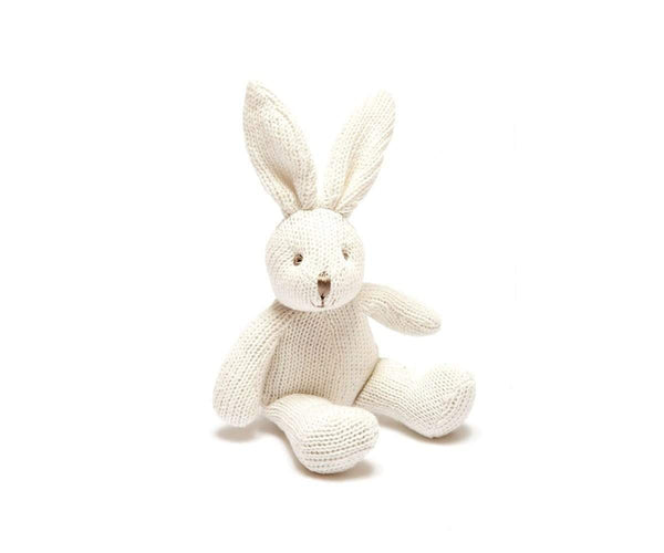 Knitted Organic White Bunny Rattle for Baby