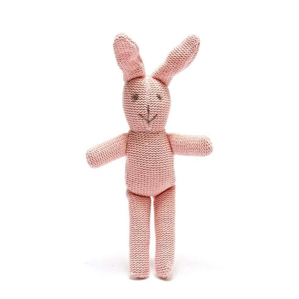 Organic Cotton Bunny Rattle in Pink