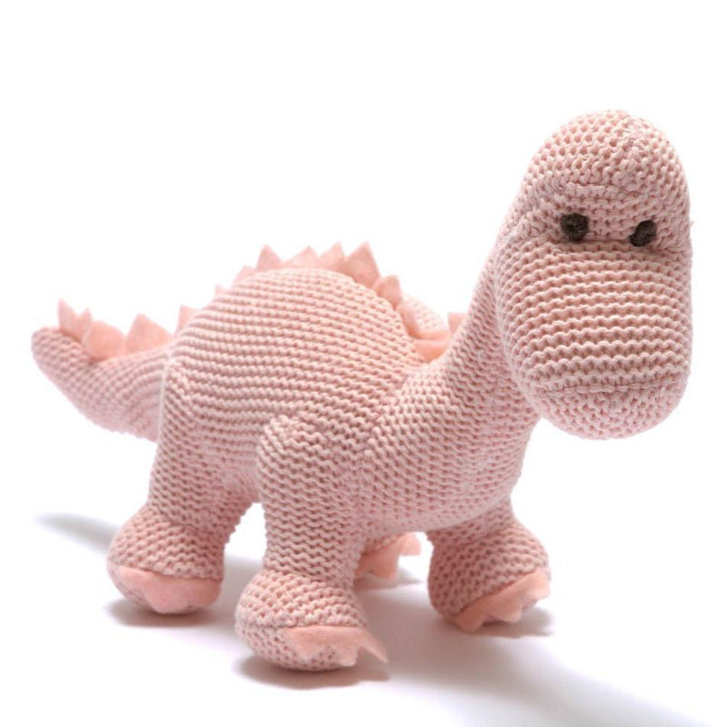 Organic Cotton Diplodocus Baby Rattle in Pink