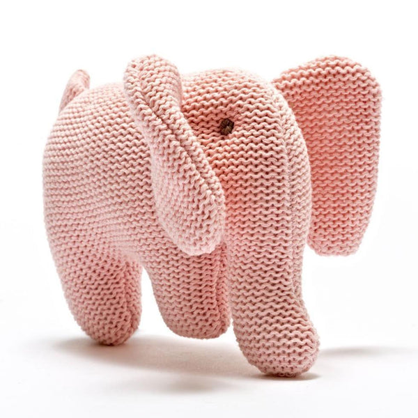 Organic Cotton Elephant Rattle in Pink