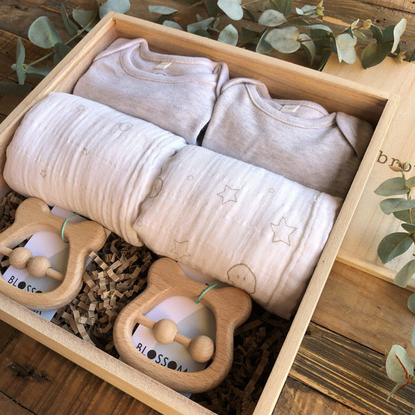 The Midi Grey Twin New Baby Gift Box