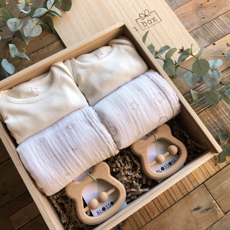 The Midi White Twin New Baby Gift Box