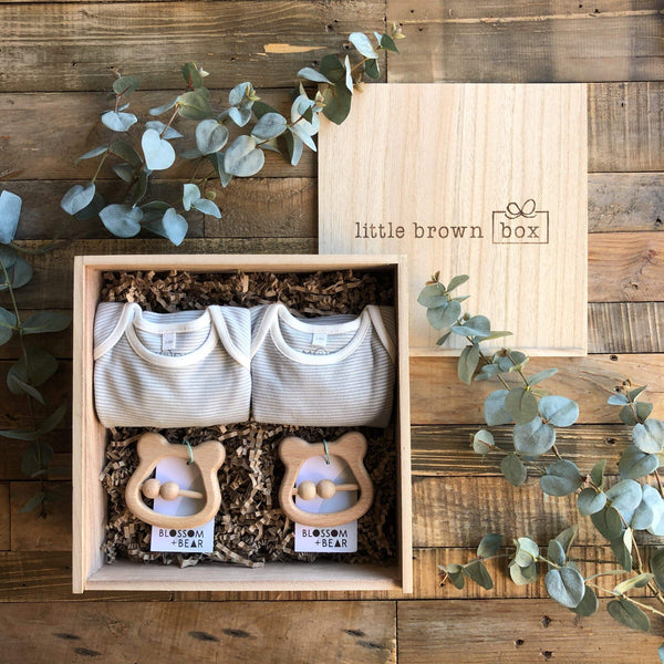 The Mini Blue Twin New Baby Gift Box