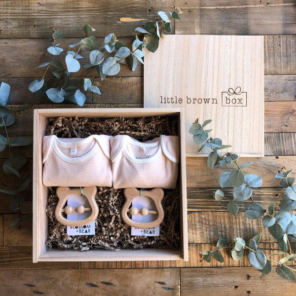 The Mini Blush Twin New Baby Gift Box