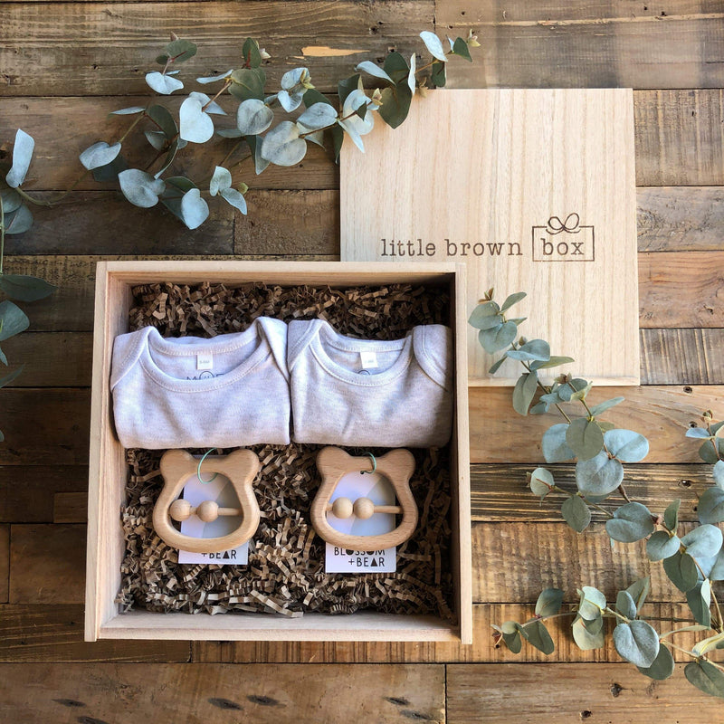The Mini Grey Twin New Baby Gift Box