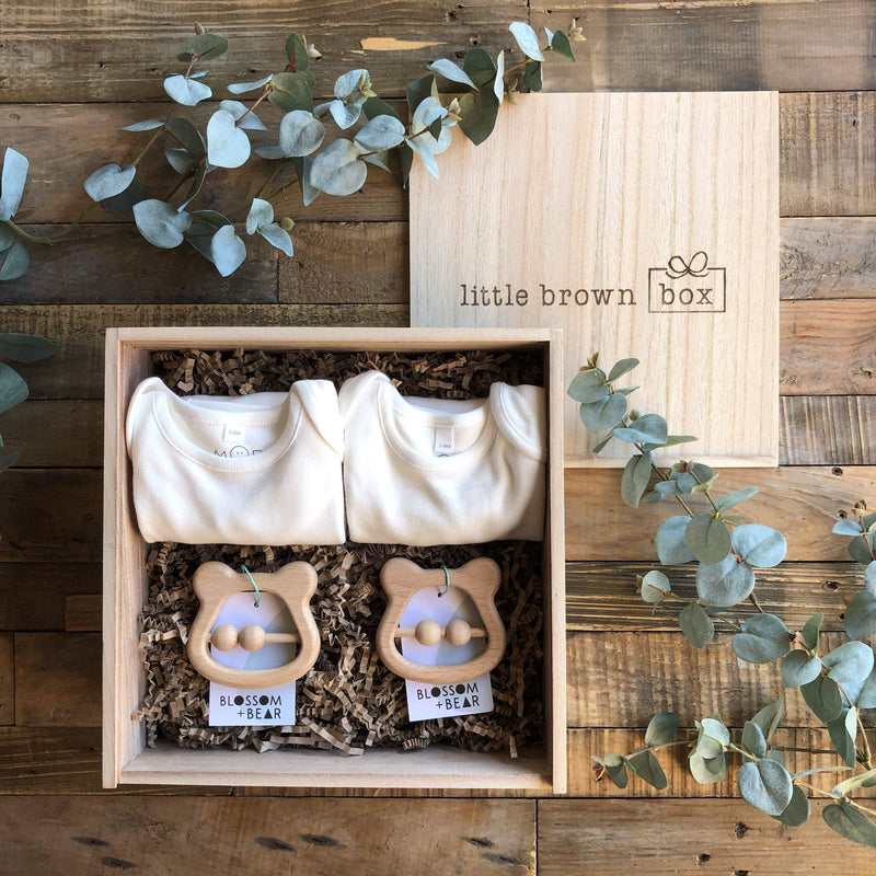 The Mini White Twin New Baby Gift Box