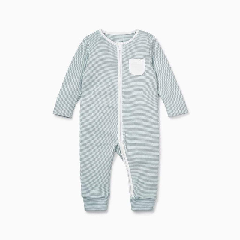 Baby Mori Zip-up Sleepsuit in Blue Striped