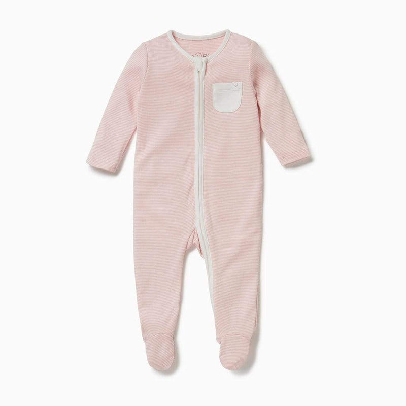 Baby Mori Zip-up Sleepsuit in Blush Striped