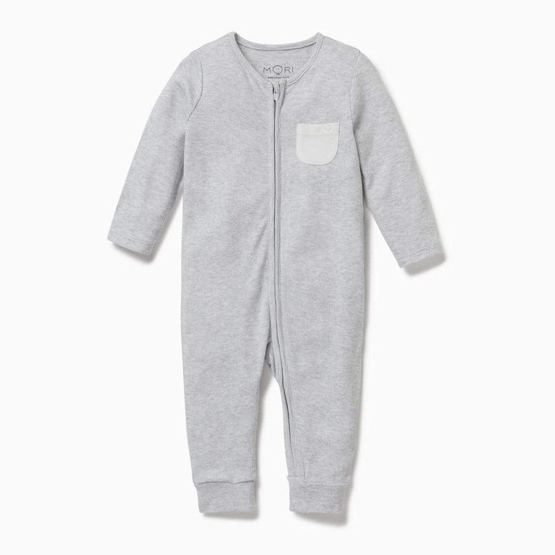 Baby Mori Zip up Sleepsuit in Grey