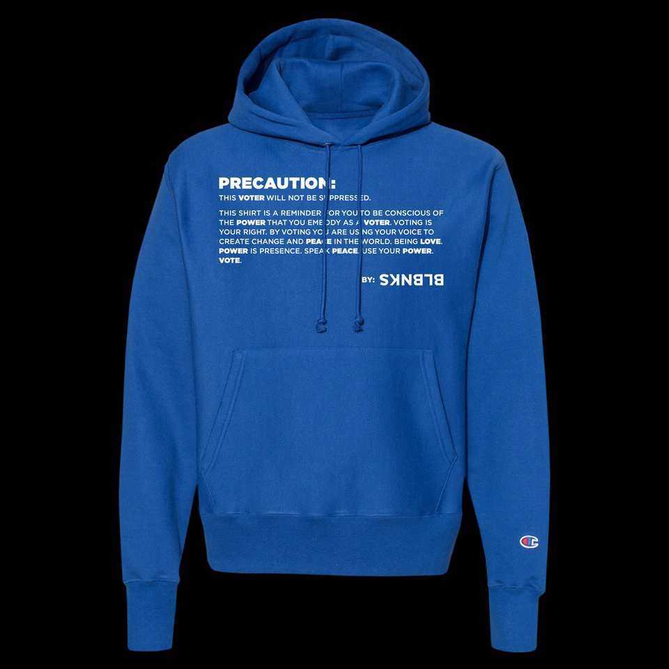PRECAUTION: THIS VOTER | WILL NOT BE SUPPRESSED. | HOODIE