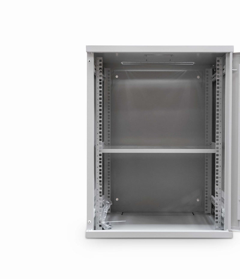 LMS Data Wall Mount Cabinet 12u 550mm Wide x 450mm Deep Comms Cabinet With Shelf - Grey