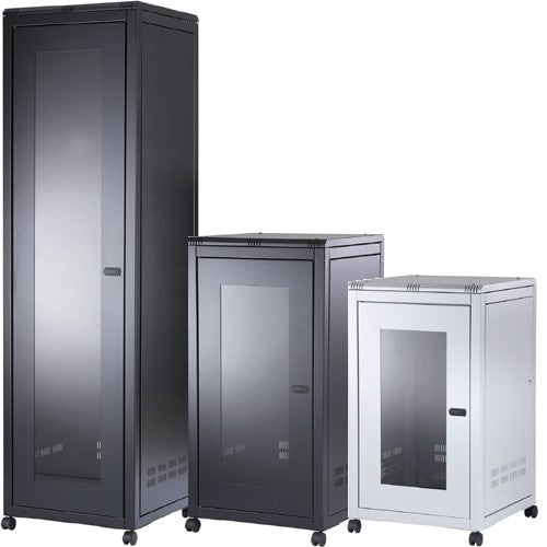 ORION 12U FREE STANDING DATA CABINET 600MM WIDE X 800MM DEEP - BLACK