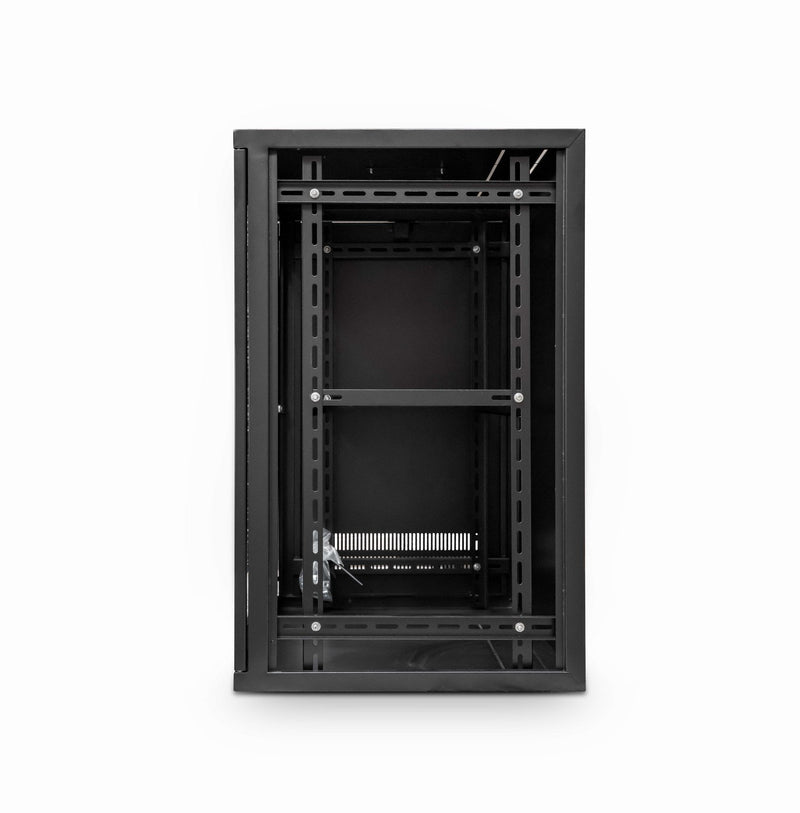 LMS Data Wall Mount Cabinet 15u 550mm Wide x 450mm Deep Entry Level Comms Rack Network Cabinet With Shelf - Black