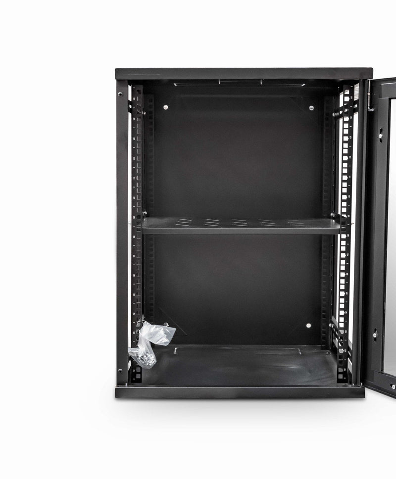 LMS Data Wall Mount Cabinet 12u 550mm Wide x 450mm Deep Comms Cabinet With Shelf - Black