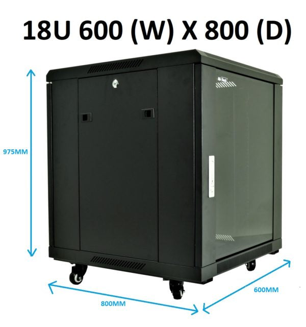 All-Rack 18u 600mm Wide x 800mm Deep Floor Standing Server/Data Cabinet - Black (BACKORDER ONLY)