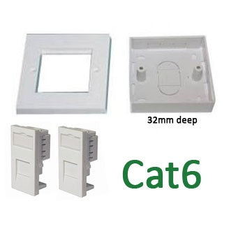 Cat6 single gang twin outlet bundle DIY kit