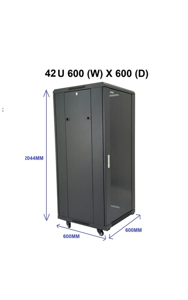 All-Rack 42u 600mm Wide x 600mm Deep Floor Standing Server/Data Cabinet - Black (Pre-Order Only)