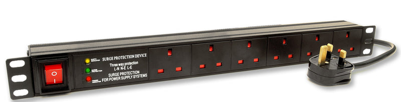 6 Way UK Horizontal PDU With UK Lead Surge Protected