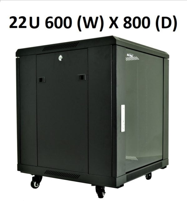 All-Rack 22u 600mm Wide x 800mm Deep Floor Standing Server/Data Cabinet - Black £252.50 - £329.17 ex VAT