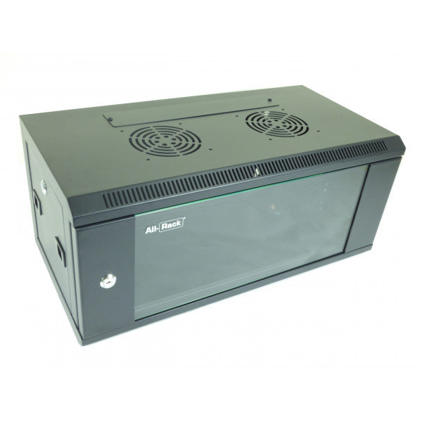 All-Rack Wall Mount Comms Cabinet 4u 600mm Wide X 300mm Deep, Data Rack, Network Cabinet - Black (FOR BACK ORDER ONLY)