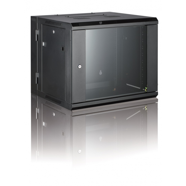All-Rack Wall Mount Comms Rack 9U 600mm Wide x 550mm Deep 2 Part/Hinged Wall Mount Cabinet - Black