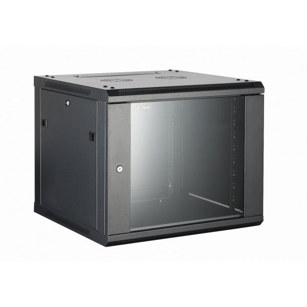 All-Rack Wall Mount Comms Cabinet 12u 600mm Wide X 450mm Deep, Data Rack, Network Cabinet - Black