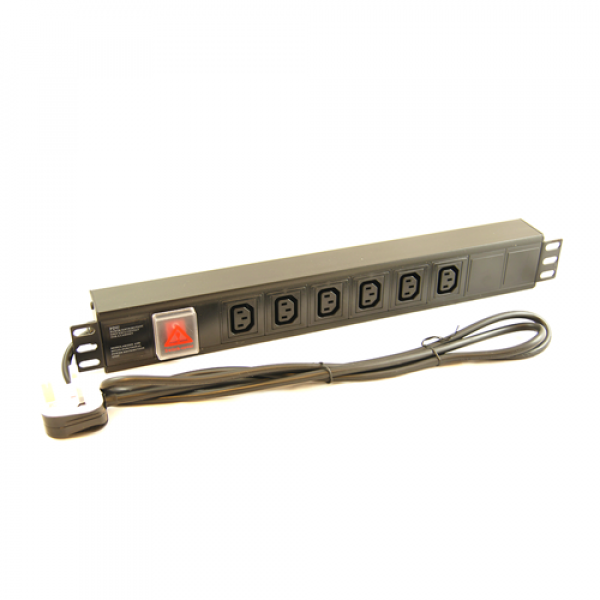 6 Way Horizontal IEC PDU with UK Plug