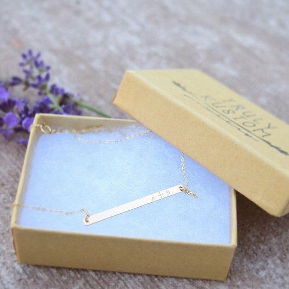 Skinny Vertical Bar Necklace // 1.5