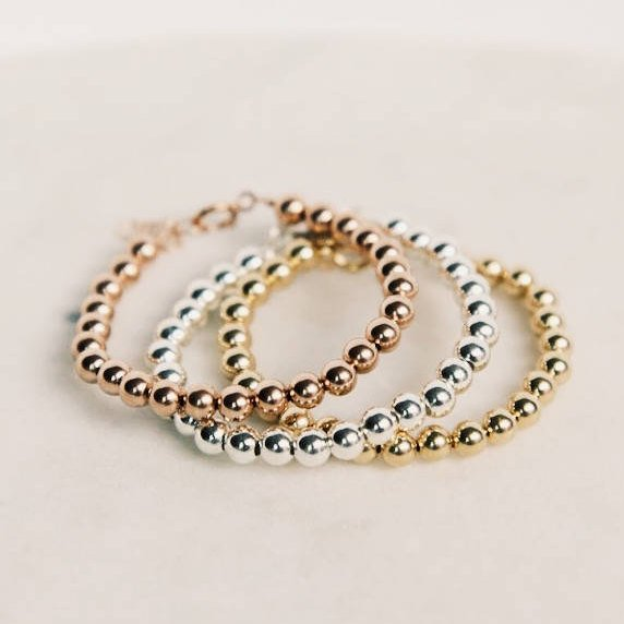 Gold Filled/ Sterling Silver/ or Rose Gold Baby/Kid/Adult Beaded Bracelet
