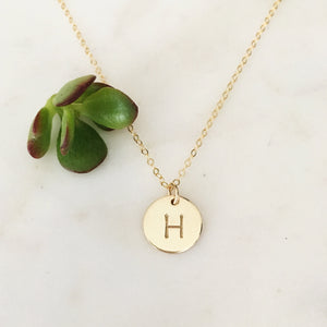 13mm Circle/Initial Charm Necklace