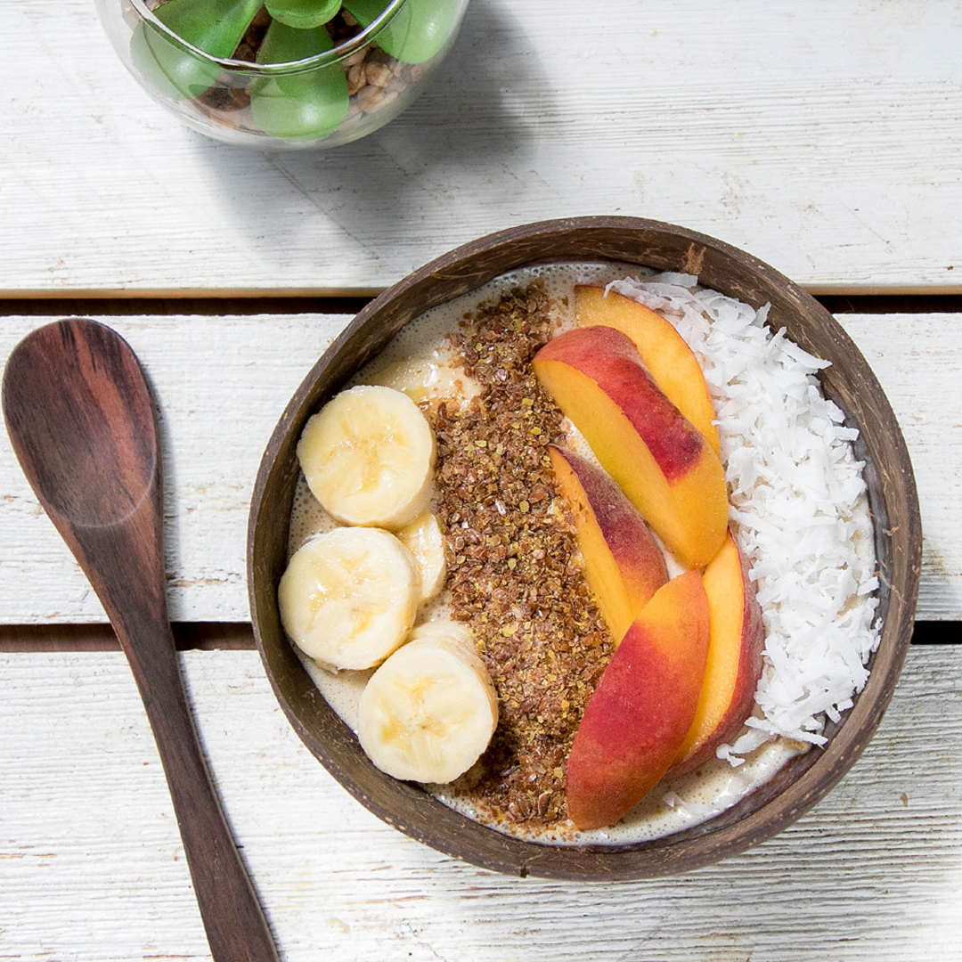 peach protein smoothie bowl