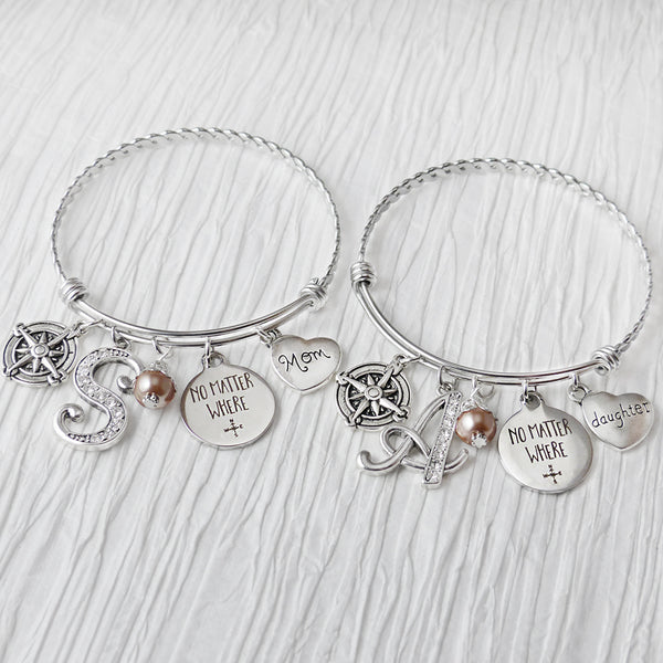 Mother Daughter Bracelet Set, No Matter Where Bracelet