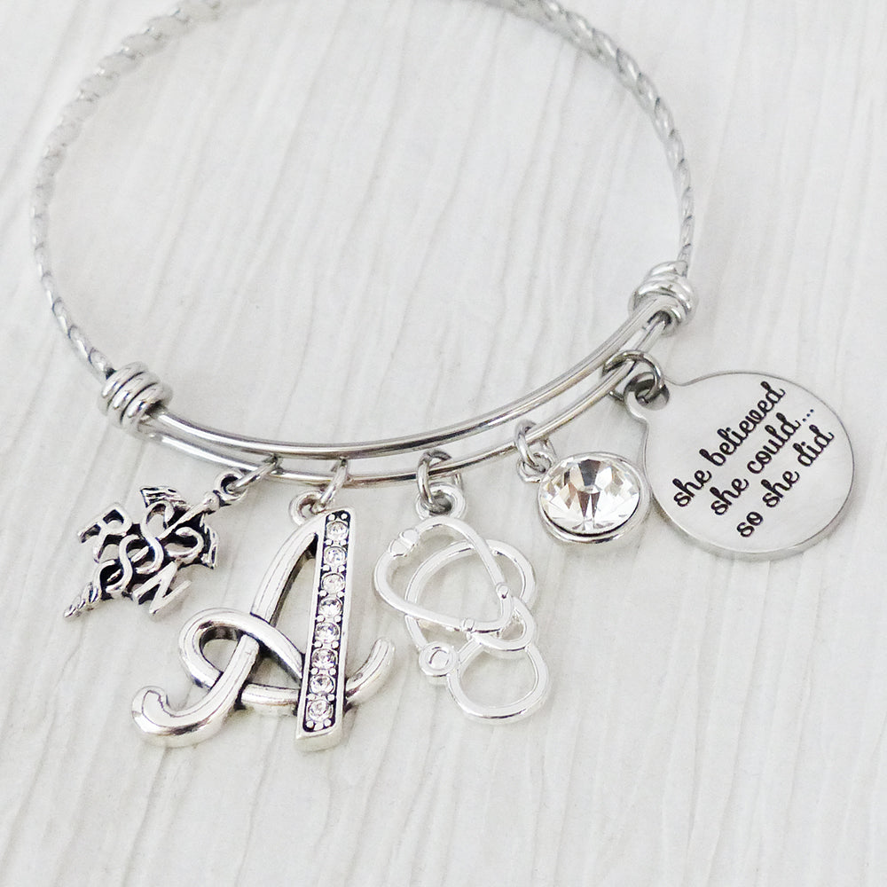 She Believed She could so She Did Graduation gift for Nurse College Graduation Gift Graduation Gift for RN Nurse Graduation Bracelet